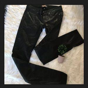 Paige Sz 27 Black Skinny Polished Coated Jeans